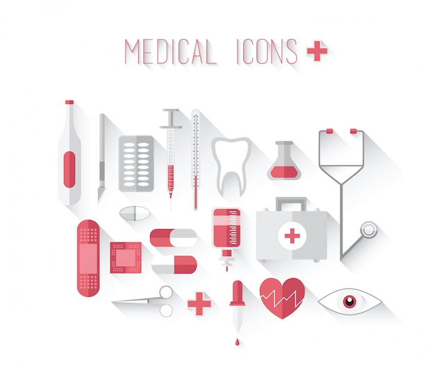 Медицинские иконки в красном и сером векторе