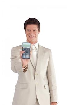 ハッピー、ビジネスマン、計算機