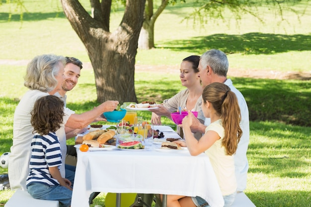 芝生で昼食を取った家族