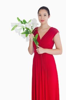 女性、保有物、ユリ、赤、ドレス