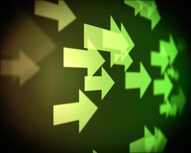 複数の緑の矢の背景