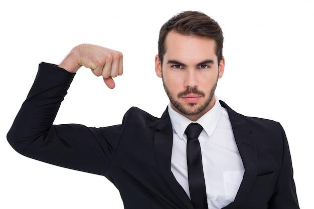 ビジネスマン、緊張、腕、筋肉、カメラ、見る