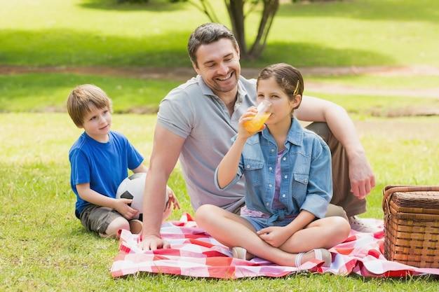 公園の子供たちと父