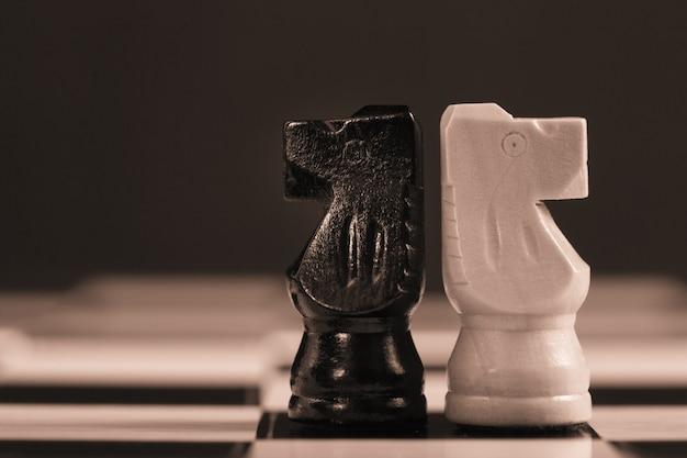 Два шахматных рыцаря, обращенных друг к другу