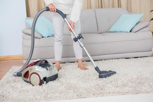 女性、掃除機、掃除機、敷物