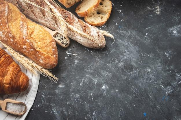 焼きたてのパンの品揃え。