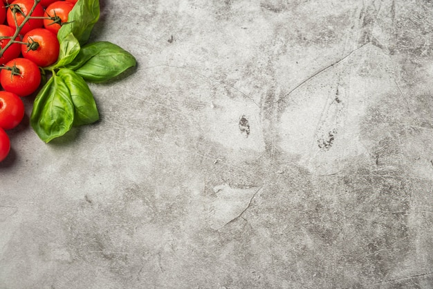 チェリートマトとバジルの葉の小枝