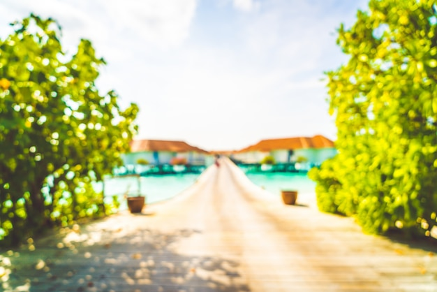 Абстрактный размытия тропический пляж и море на мальдивах для фона