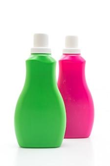 ピンクと緑のプラスチックボトル白い背景に洗剤や床の液体洗浄用