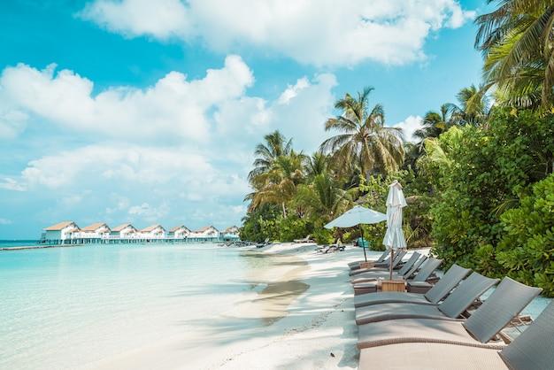 熱帯のモルディブリゾートホテルの島と海とビーチチェア