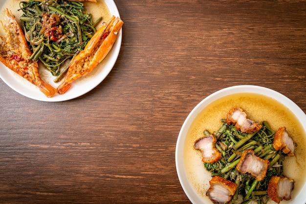 カリカリの豚バラ肉と川海老の炒めた水ミモザ
