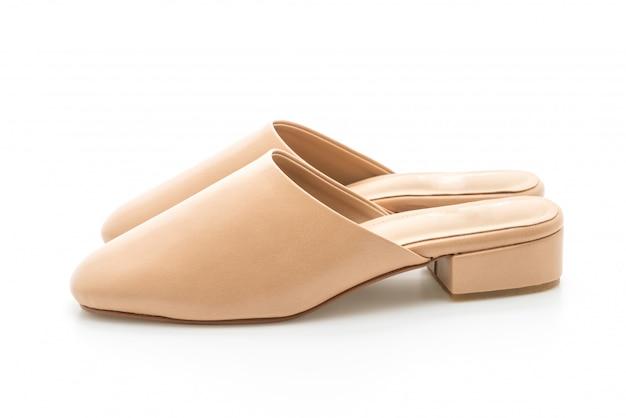 Женщина мода кожаная обувь