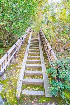 京都の金閣寺(ゴールデンパビリオン)の古い階段。