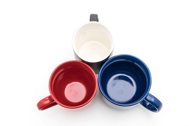白、黒、赤、青のカップのセット