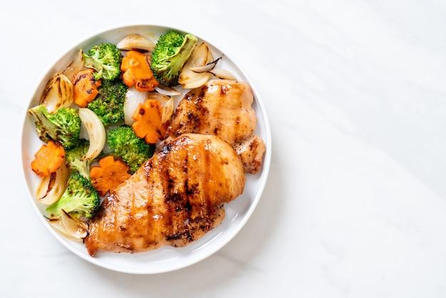 野菜とグリルチキンステーキ