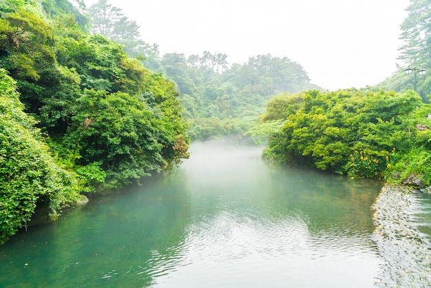 済州島の天地淵の滝庭園公園