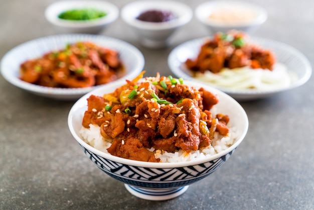上のご飯に豚肉のピリ辛韓国風ソース(ブルゴギ)