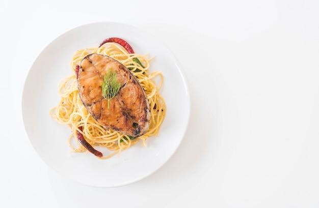 サバ焼きスパゲッティ