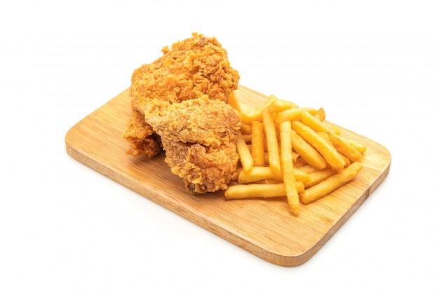 フライドチキンとフライドポテトとナゲットの食事(ジャンクフードと不健康な食べ物)