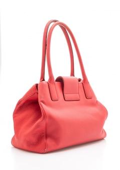 赤い革の女性のファッションバッグ