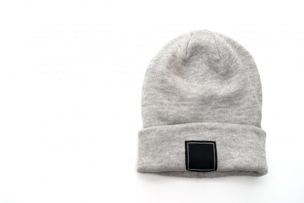 グレーのウールの帽子