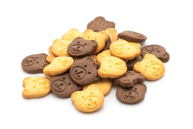 チョコレート風味とバター風味のビスケットを負担
