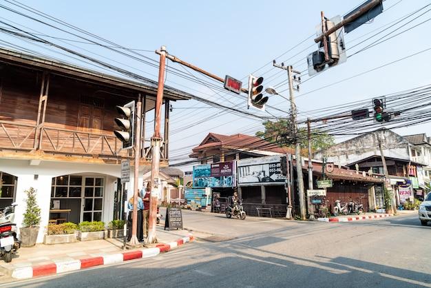 パイ、タイのストリートシーン。