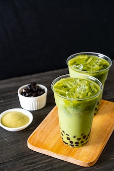 Зеленый чай латте с пузырем