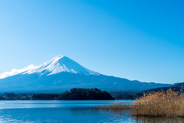 Гора фудзи с озером кавагутико и голубым небом