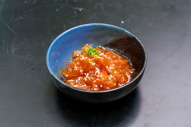Желе салат из рыбы с кунжутным маслом