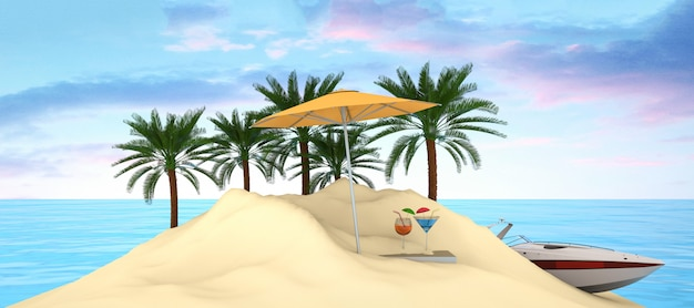 Иллюстрация острова летнего отдыха