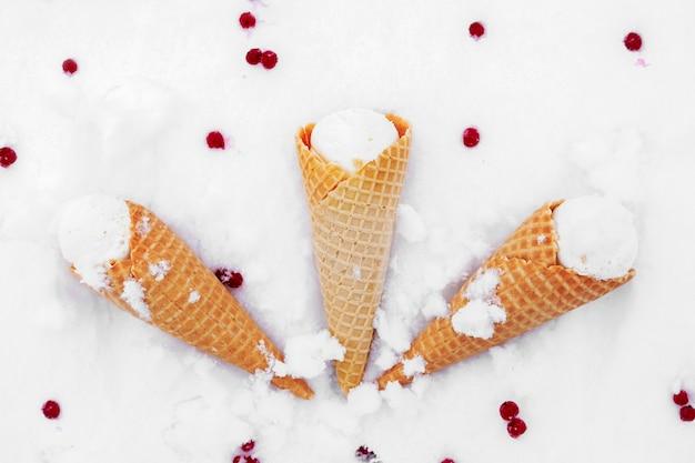 雪の中でスグリの赤い果実とワッフルコーンのアイスクリーム