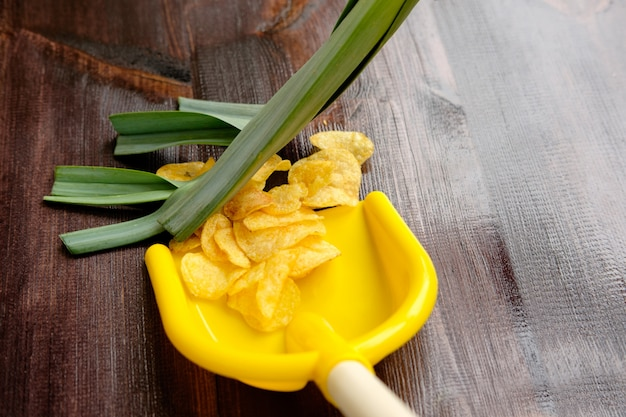 Куча чипсов сметается в желтый совок с зеленым луком, как метла. здоровая пища, концепция здорового образа жизни