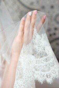 花嫁の手をクローズアップ