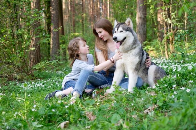 Рыжая молодая женщина и ее сын играют с собакой маламут на прогулке в лесу