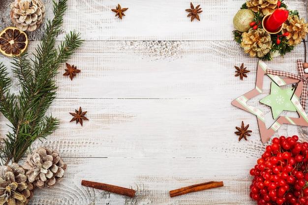 Рождественский фон вид сверху плоский лежал копией пространства