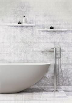 Ванна стоя с смесителем ванны в современной ванной комнате.