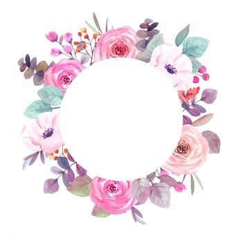 水彩花フレームグリーティングカード