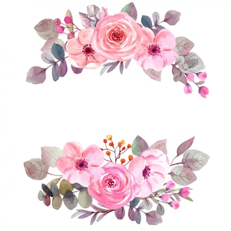 コピースペースと水彩花