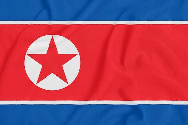 テクスチャ生地に北朝鮮の旗。