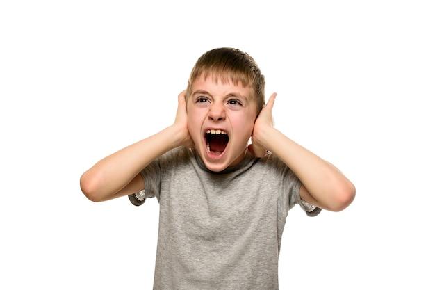 少年は両手で耳を閉じ、猛烈に叫ぶ。いたずらな男子生徒。分離する