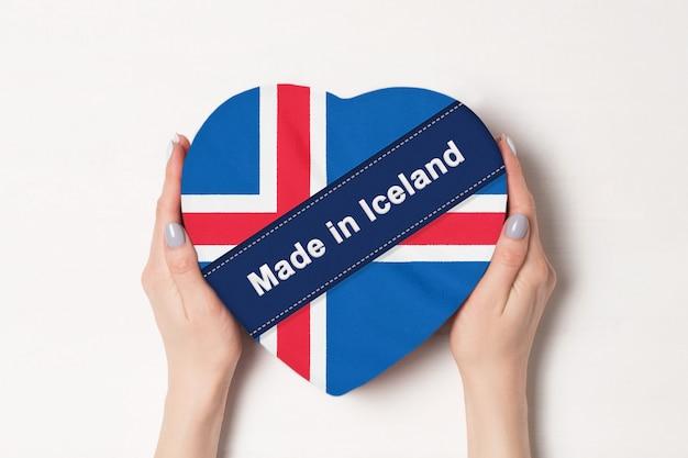 アイスランドの旗をアイスランドで作った碑文。