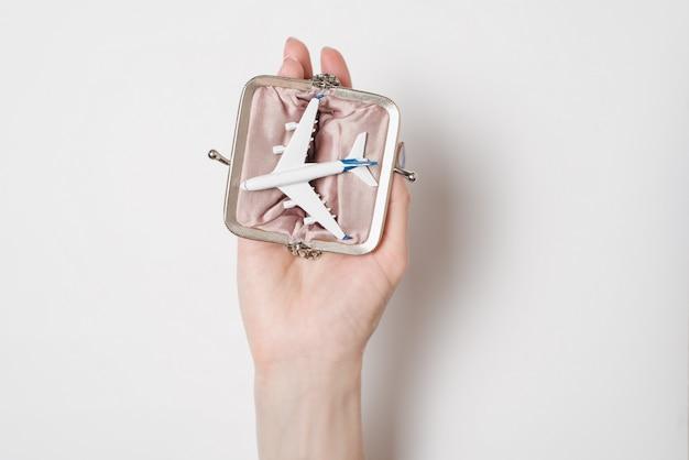 女性の手のひらに財布に旅客機。格安航空