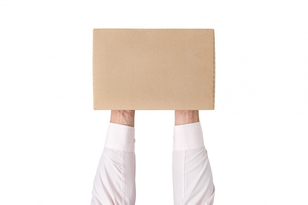 長方形の段ボール箱を保持している男。上面図