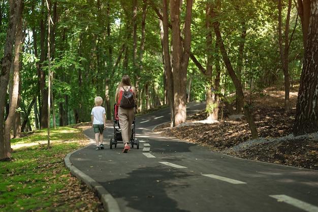 子供とベビーカーを持つ母は公園を散歩します。屋外で散歩します。背面図