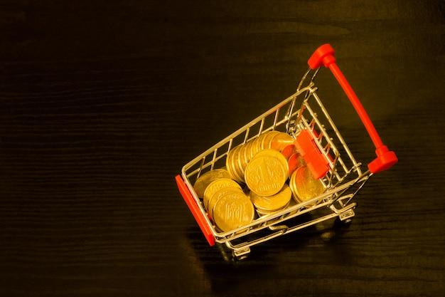 ショッピングトロリーのウクライナグリブナコイン。