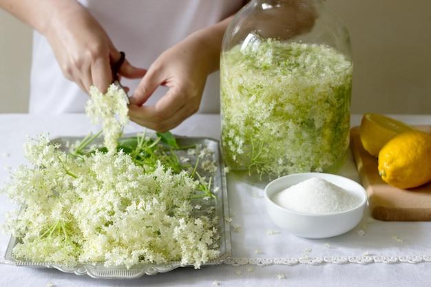 Бузина цветы, вода, лимон и сахар, ингредиенты и женщина готовит сироп бузины. деревенский стиль