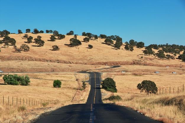 米国カリフォルニア州の畑の道