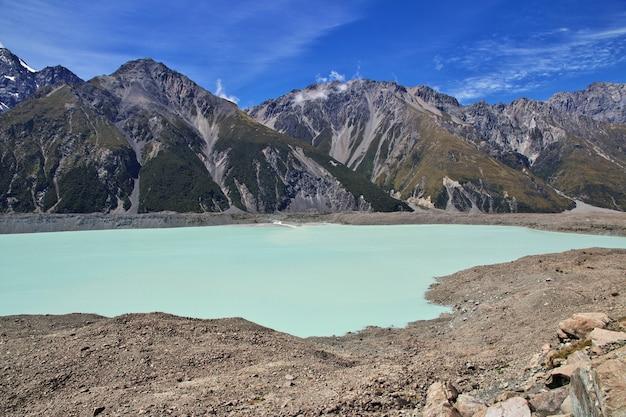 Отслеживание на леднике тасман, новая зеландия,