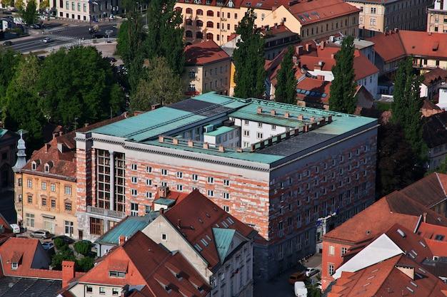 スロベニア、リュブリャナの中心部の眺め
